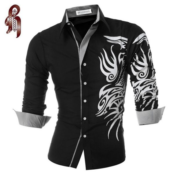 Mandarin Collar Slim Fit Shirt Men