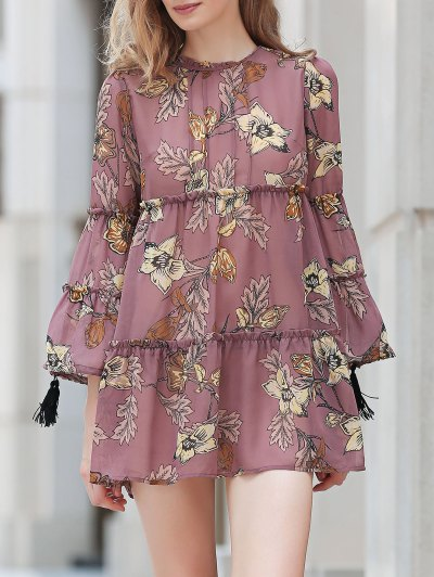 Round Collar Long Sleeve Printed Loose Dress