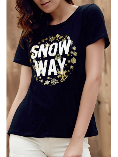 Round Neck Short Sleeve All Match Black Letter T Shirt