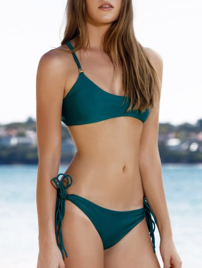Spaghetti Strap Tassels Spliced Green Bikini Set