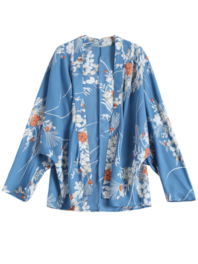 Open Front Long Sleeve Floral Print Kimono Blouse
