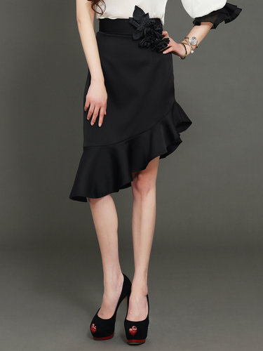 Black Plain Casual Satin Appliqued Midi Skirt
