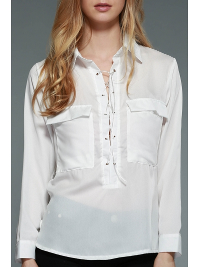 Plunging Neck Long Sleeve White Lace Up Chiffon Blouse
