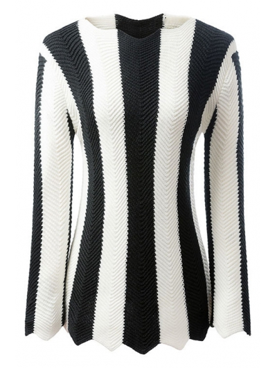 Long Sleeve Black and White Striped Jumper