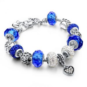 Blue Crystal Beads Charm Women's Bracelet