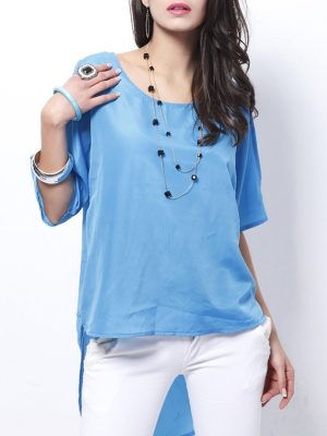High-Low Loose Vented Round Neck Plain Blouse
