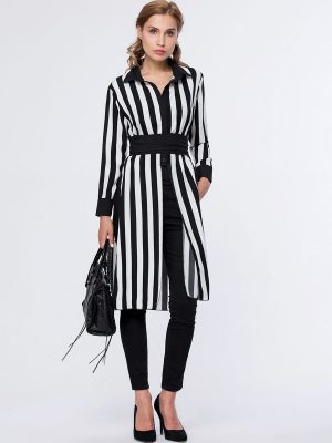 Vertical Striped Turn Down Collar Side-Vented Blouse