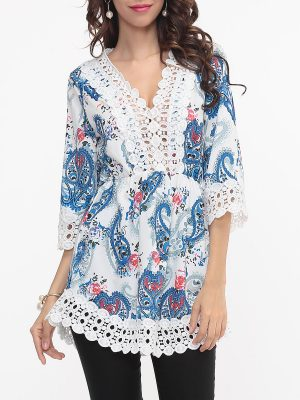 Hollow Out Patchwork Printed Designed V Neck Blouse