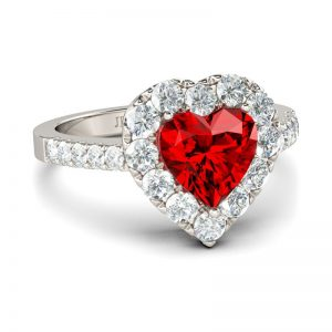 Jeulia  Halo Heart Cut Created Ruby Engagement Ring