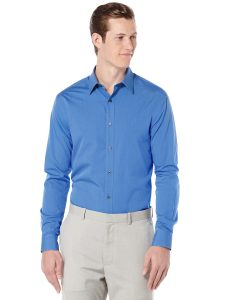 Perry Ellis Slim Fit Long Sleeve Chambray Shirt