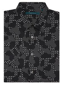 Perry Ellis Short Sleeve Geo Camo Print Shirt