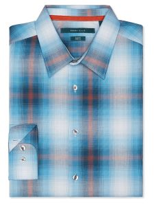 Perry Ellis Slim Fit Plaid Ombre Shirt
