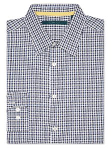 Perry Ellis Dobby Cross Check Roll Sleeve Shirt