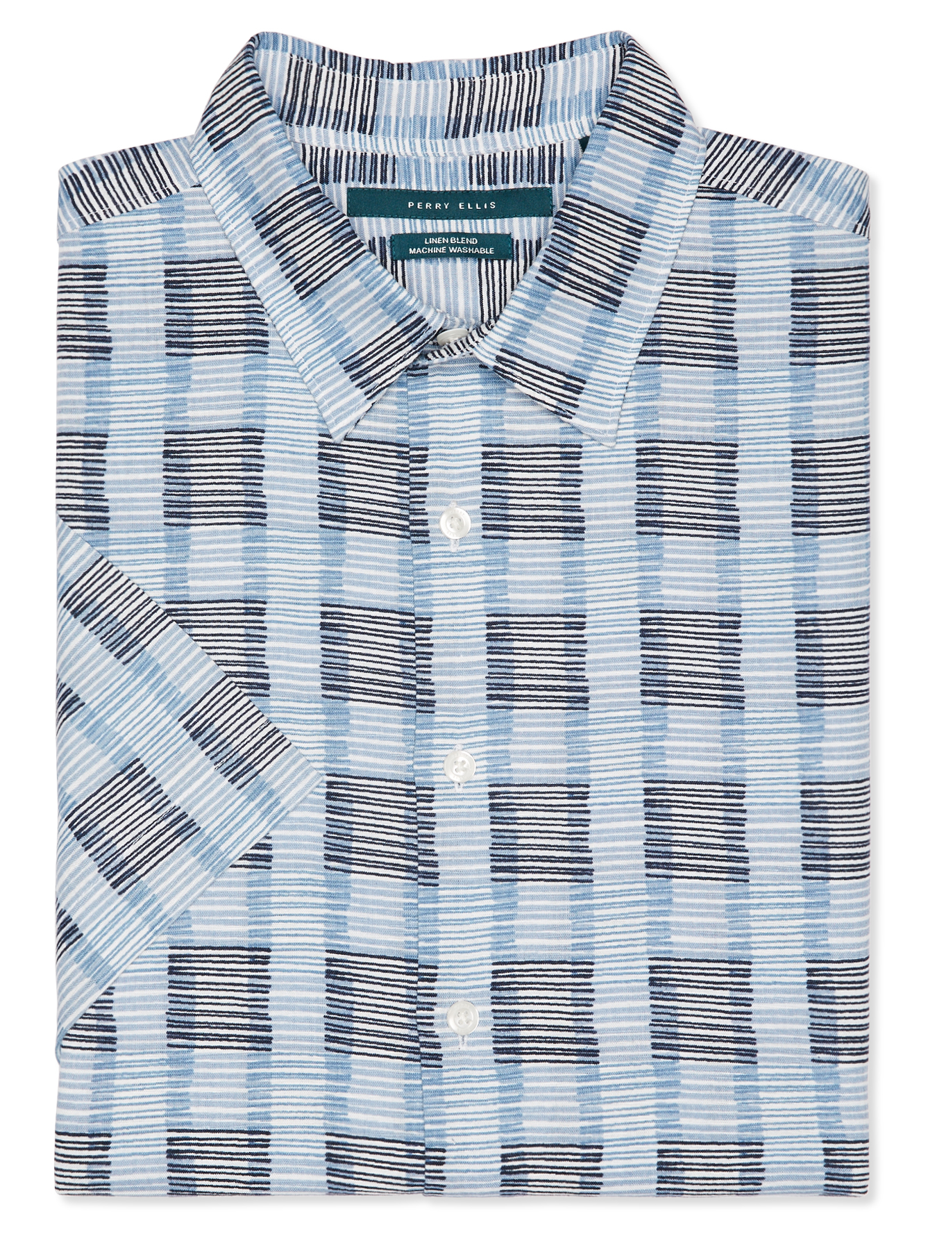 Perry Ellis Short Sleeve Multi-Color Wavy Stripe Shirt