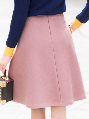Pink Girly Pockets Solid Plain Midi Skirt