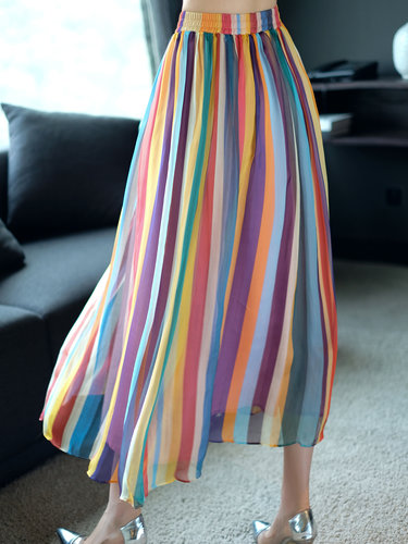 Yellow Stripes A-line Girly Midi Skirt