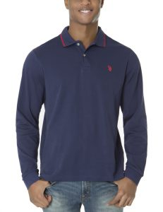 U.S. Polo Assn. Long Sleeve Interlock Polo Shirt Classic Navy