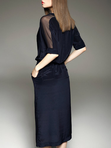 Navy Blue Plain Casual H-line Midi Dress