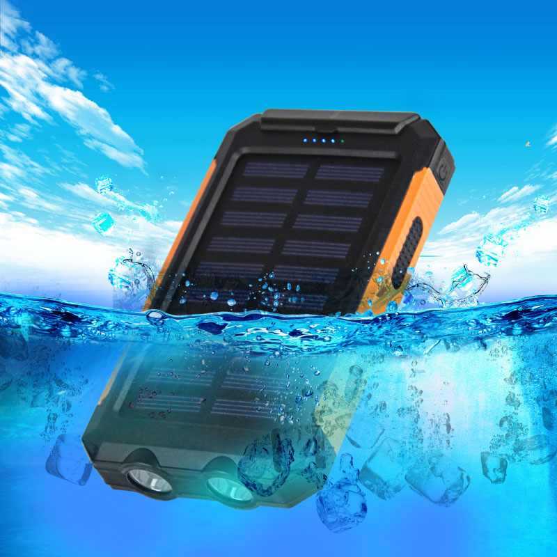 Waterproof Dual USB Cell Phone Solar Power Bank 10000mah