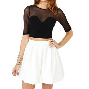 Women's Mesh Cutout Crop Top