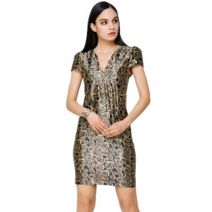 Elegant Rose Print V Neck Eyelet Hole Cap Sleeve Side Pockets Mini Dress