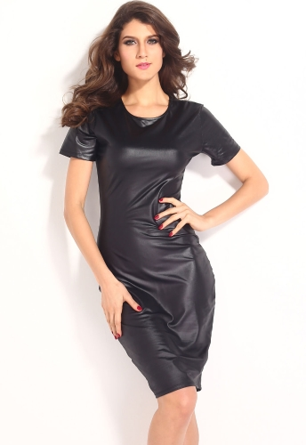 Black Vinyl Bodycon Midi Dress