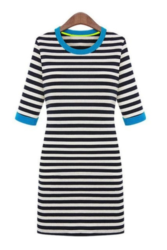 Trendy Casual Half Sleeve Round Neck Contrast Stripe Bodycon Mini Dress