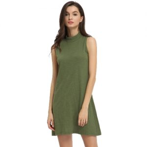 Trendy Solid Color Round Neck Short Summer Dress