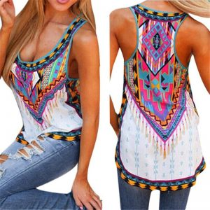 Colorful Print Ladies Tank Top