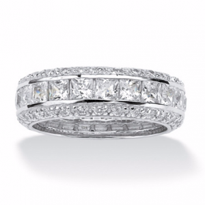 4.17 TCW Princess-Cut CZ Eternity Ring In Platinum Over .925 Sterling Silver