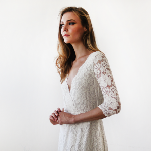 Lace Long Sleeve Wedding Maxi Dress