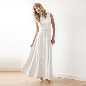 Ivory Backless Wedding Maxi Dress