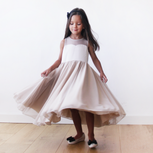 Sweetheart champagne flower girl dress