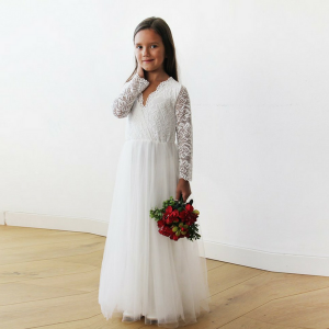 Tulle and Lace Long Sleeves Ivory Flower Girls Gown