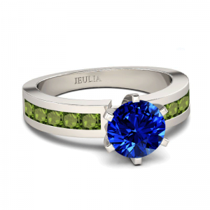 Jeulia Round Cut Created Sapphire Engagement Ring