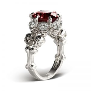 Jeulia Round Cut Created Garnet Four Skull Ring