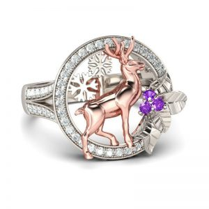 Jeulia Floral Snowflake Reindeer Two Tone Round Cut Created Amethyst Cocktail Ring