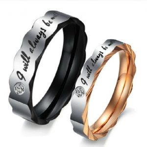 "Jeulia ""I Will Always Be With You"" Titanium Steel Couple Ring"