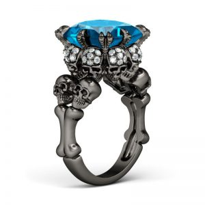 Jeulia  Black Princess Cut Created Aquamarine Four Skull Ring