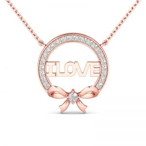 Jeulia Design Rose Gold Bowknot Love Round Cut Created White Sapphire Pendant Necklace