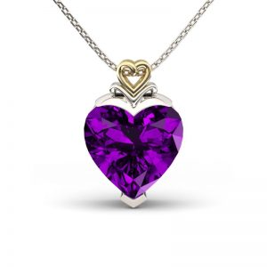 Jeulia Design Two Tone Forever Love Heart Cut Amethyst Pendant Necklace