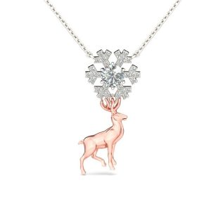 Jeulia Design Two Tone Snowflake Reindeer Round Cut Created White Sapphire Pendant Necklace