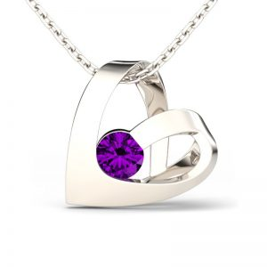 Jeulia Design Romantic Heart Design Round Cut Amethyst  Pendant Necklace