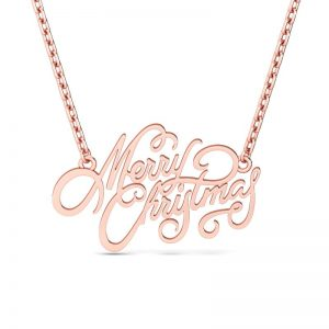 Jeulia Design Rose Gold Merry Christmas Design Necklace