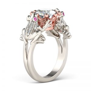 Jeulia Two Frog with Crown Two Tone Created White Sapphire  Frog Ring