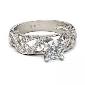 Jeulia Filigree Vines Round Cut Created White Sapphire Engagement Ring