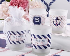 Personalized Frosted Glass Votive (Nautical Bridal Designs)
