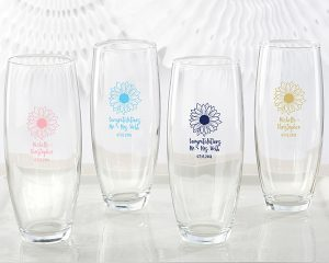Personalized Sunflower 9 oz. Stemless Champagne Glass