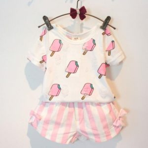 Sweet Ice-cream Ripped T-shirt With Vertical Stripe Shorts Set