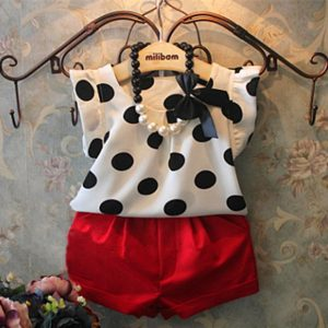 Girls Spots Fly Sleeve Shirts & Red Pants Set